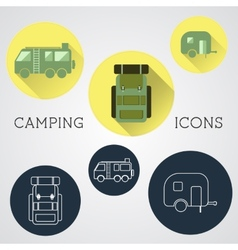 Set of outdoor adventure icons badges and vector image