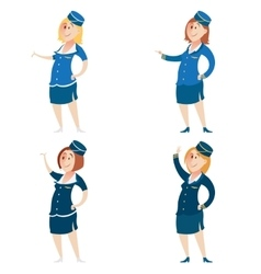 Set of Stewardess vector image vector image