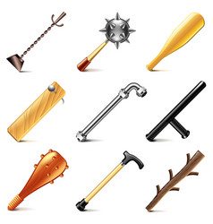 stick weapons icons set vector image vector image