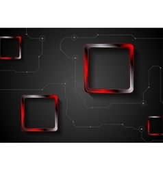 Technology background with lines and red glossy vector image