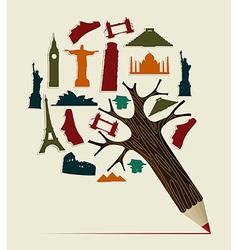 World travel pencil vector image vector image