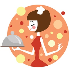Girl cooking vector image vector image