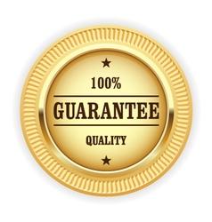 Golden medal - 100 quality guarantee symbol vector image