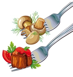 Mushrooms and meat on fork vector image