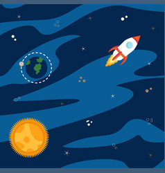 space with rocket vector image