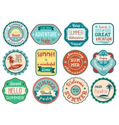 vintage retro grunge summer vacation travel labels vector image