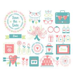 vintage set of decorative cute wedding vector image vector image