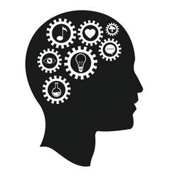 head brain gears intelligence media vector image
