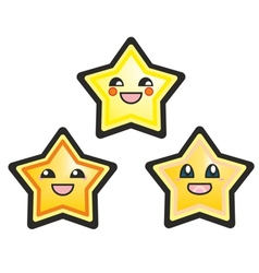 Kawaii manga stars isolated on white vector image