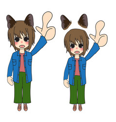 short hair girl with cat ears pointing up vector image vector image