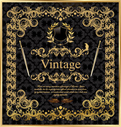 vintage gold black frame decor label vector image