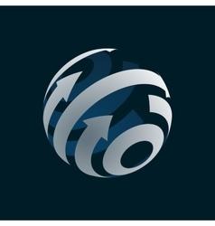 Abstract Globe Logo Element Rotating Arrows vector image vector image