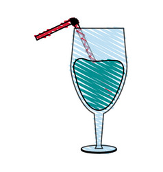 color crayon stripe glass cup of cocktail with vector image vector image