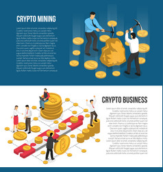 Cryptocurrency mining business isometric banners vector