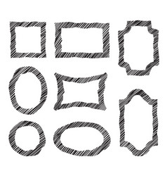 frame set different shape grunge border in doodle vector image