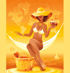 sea sunset beach people traveling banner summer vector image vector image