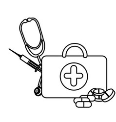 silhouette suitcase health with stethoscope vector image vector image