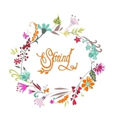 Spring hand drawn floral calligraphic background vector image vector image