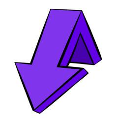 violet down arrow icon icon cartoon vector image vector image