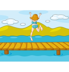 a girl and water vector image