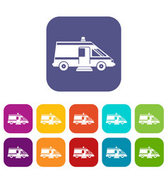 Ambulance icons set vector