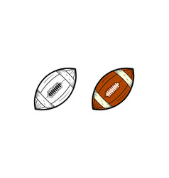 American football hand drawn sketch and color vector