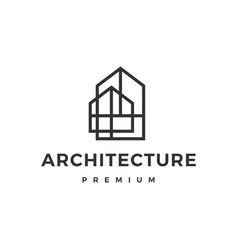 architecture house interior home outline logo icon vector image