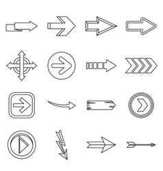 Arrow icons set outline style vector image