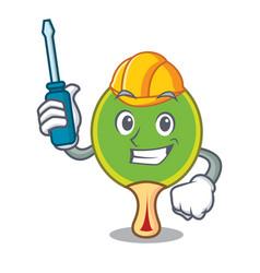 Automotive ping pong racket mascot cartoon vector