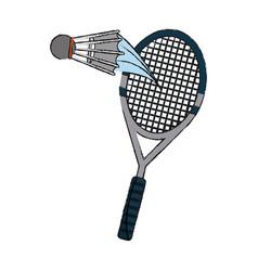 Badminton ball and racket vector