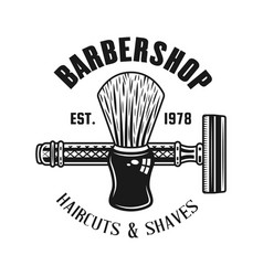 barbershop emblem with shaving brush and razor vector image