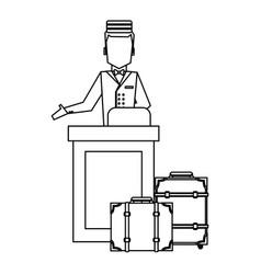 Bellboy with luggage black and white vector