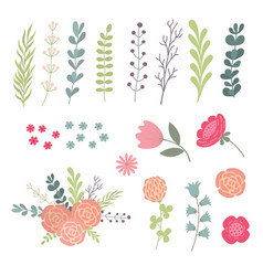 Big set green leaves twigs and flowers design vector