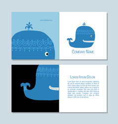 Blue whale greeting cards design vector