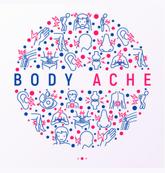 Body aches concept in circle with thin line icons vector