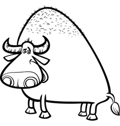 bull or buffalo cartoon coloring page vector image