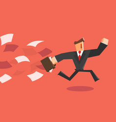 businessman running away from paper vector image