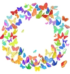 Butterfly wreath design element in bright colors vector image