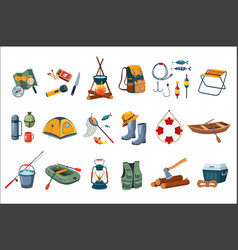 Camping icon set tourist equipment items for vector