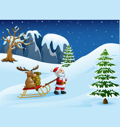 cartoon funny santa claus pulling reindeer on a sl vector image