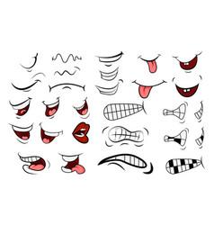 cartoon mouth set tongue smile teeth expressive vector image