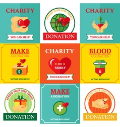 Charity Emblems Design Flat Icons Composition vector image