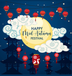 chinese mid autumn festival background vector image