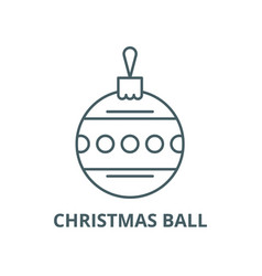 christmas ball with ornament line icon vector image