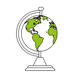 color silhouette cartoon earth globe with green vector image