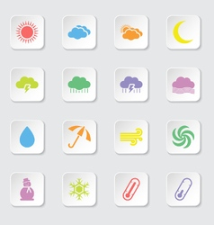 colorful flat weather icon set vector image