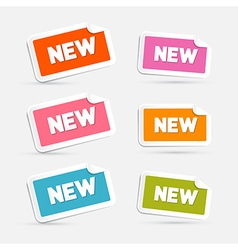 Colorful Stickers with New Title Isolated on Grey vector image