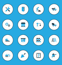 Construction colorful icons set collection of vector