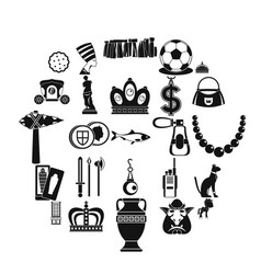 Crown icons set simple style vector
