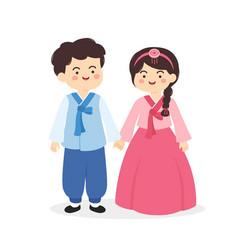 cute korea hanbok couple cartoon vector image